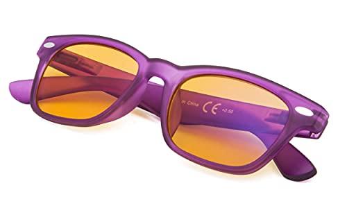 Reducblu Blue Blocking Glasses for Women - Special Orange Tinted Readers - Purple Frame +1.50