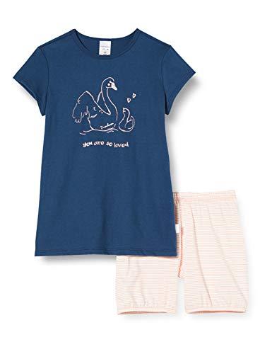 Schiesser Mädchen Md kurz Zweiteiliger Schlafanzug, Blau (Blau 800), (Herstellergröße: 128)