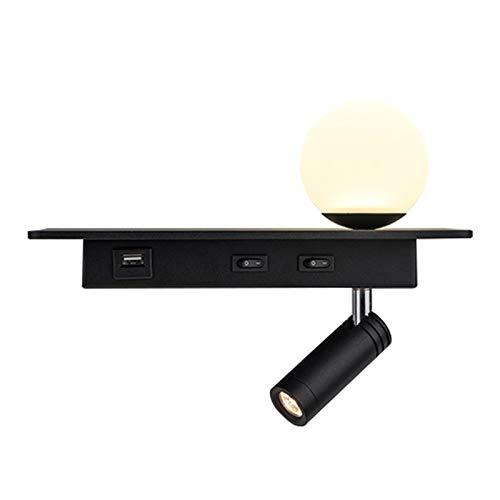 Luz de la pared de lectura de la cama con puerto de carga USB, lámpara de pared LED, escono de pared flexible, con pantalla de vidrio congelado y foco ajustable,Negro