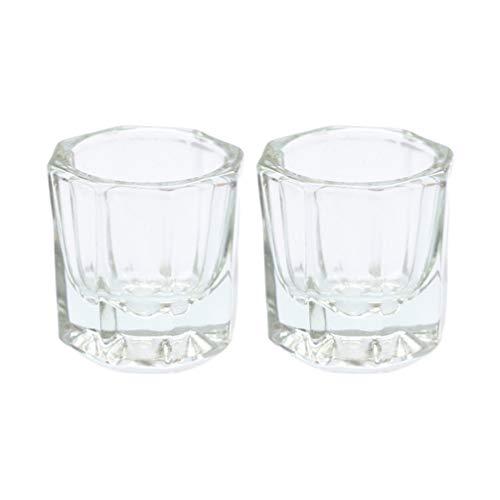 Lurrose 2 piezas de vidrio cristalino dappen dish nail art polvo líquido...