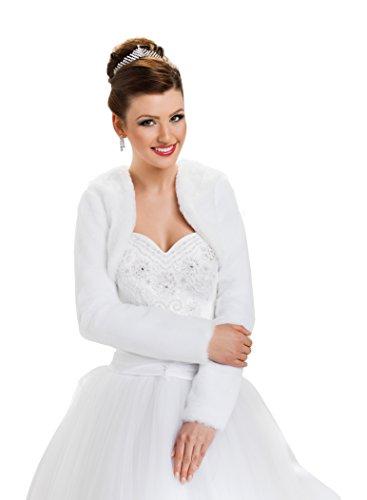 Hochzeit Jacke Brautjäckchen Leichte Hochzeitsjacke für die Braut Bolero aus künstlichem Pelz mit voll länger Ärmel volles Futter, Größe 34, Farbe Elfenbein