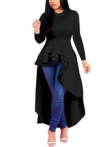Fashion High Low Tops for Women - Unique Ruffle Long Sleeve Tunic Shirt (Medium Black)