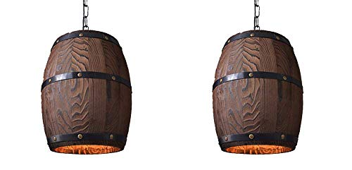 Hai Ying Houten hanglamp fitting shade deken ronde barrel massief houten lamp vintage industrie persoonlijkheid inbouw bar reiniger Edison parel E27 licht 2-fixture kleine oorbel haak draad