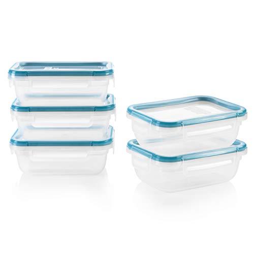 Snapware Total Solution Rectangular Plastic Meal Prep Food Storage Set (10-Piece, BPA Free, Meal Prep, Leak-Proof, Microwave, Freezer and Dishwasher Safe)