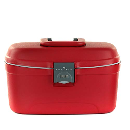 Roncato Light beauty case rigido con chiusura a combinazione rosso, misura: 36 x 22 x 21cm, organizzazione interna impermeabile, 100% Polipropilene made in Italy