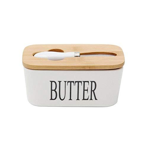 Dyna-Living Butterdose Porzellan Butter mit Messer und Holzdeckel für 250g, Weiß, 16.5 x 10 x 7.5 cm