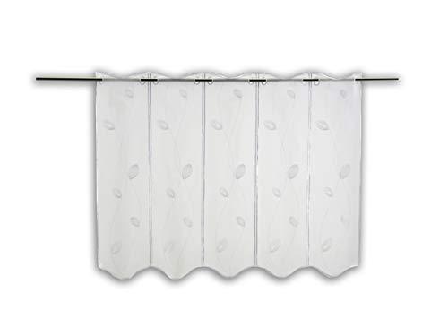 Scheibengardine Bestickt weiß mit Blättern mit Höhe 60cm   Breite der Gardine frei wählbar in 16cm Schritten   Gardine   Panneaux (Höhe 60cm)