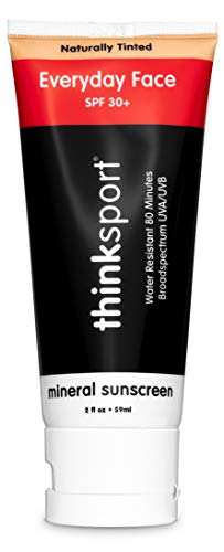 Thinksport Everyday Face Sunscreen, Naturally Tinted, Currant, 2 Ounce (Packaging May Vary)
