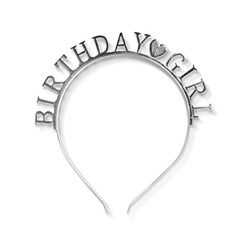 Productry Birthday Girl Headband, Happy Birthday Tiara Crown Headpiece, Party Hair Accessories for Girls and Women, Bday Decorations Supplies (Silver)