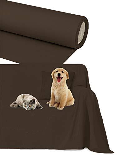 Byour3®️ Funda de sofá Impermeable - protección para Sofás por Mascotas Niños Protector hidrófugo en Algodon Antimanchas Antideslizante para Pelo Gatos Perros (Marròn, 3/4 plazas 400x300cm)
