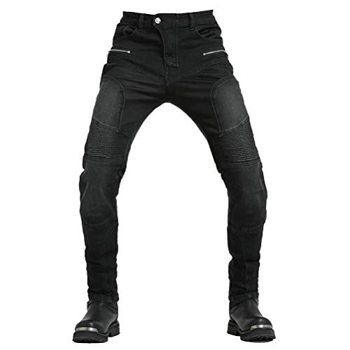 """Takuey Motorcycle Riding Pants Reinforce with Aramid Protection Summer Biker Jeans Silica Gel Pads (M(30)=Waist 33.5"""", Black)"""