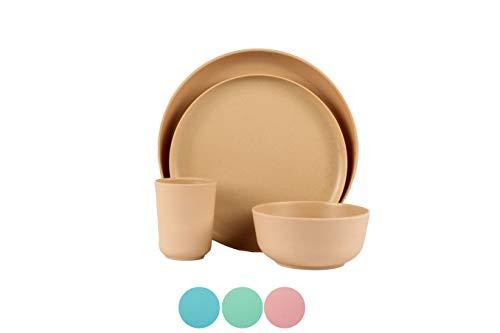 BAMBOO LAND Set for 1 person (4 PCS) /bamboo fiber dinnerware dishwasher safe, reusable bamboo dinnerware, Eco-friendly bamboo dinnerware, Picnic dinnerware set, cup, dinner plate (Khaki)