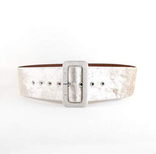 RANFEI Cinturón Ancho Cinturones de Vestir Femeninos Cinturón Decorativo Moda Hebilla Plateada Cinturón de Terciopelo Cinturón de Fiesta Franela Negra Mujeres, Beige, 5 cm de Ancho