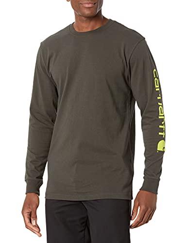 Carhartt Men's Signature Logo Long Sleeve T Shirt K231, peat, 2X-Large
