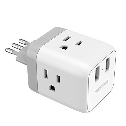 Italy Power Adapter, TESSAN US to Italy Plug Adapter with 2 USB, Type...