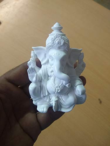RK Collections 3.5' Lord Ganesh   Ganesha Statue Sculpted in Great Detail with White Marble Finish - Ganesh Idol for Car   Home Decor   Mandir   Gift   Hindu God Idol