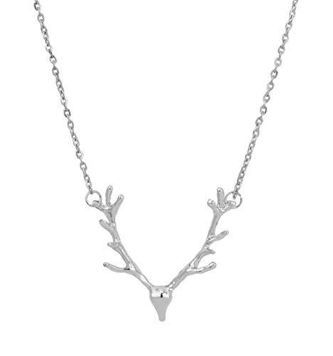 EROSPA® Halskette mit Geweih-Anhänger - Elch Hirsch - Dirndl Wiesn Oktoberfest Trachtenkette Trachtenschmuck- Damen/Frauen/Mädchen (Silber)