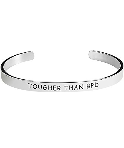 Borderline Personality Disorder Awareness Bracelet - Tougher Than BPD - Stamped Bracelets Jewelry Product Gifts for Men/Women
