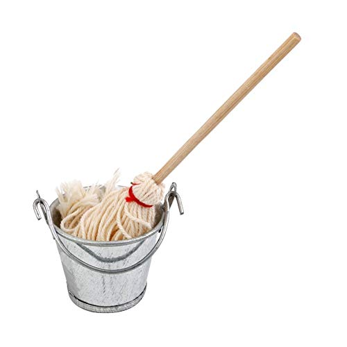 dandeliondeme 1/12Miniatur Mop Bucket Set Spielzeug Puppenhaus Zubehör Pretend Play Geschenke multi