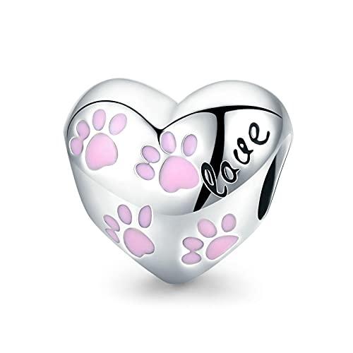 LISHOU Regalo De Mujer 925 Huellas De Perro De Plata Esterlina Animal Colgante De Corazón Rosa Cuentas Aptas para Mujeres Pulseras Brazaletes Fabricación De Joyas DIY
