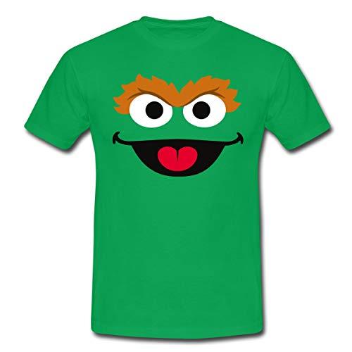 Sesamstraße Oscar Kostüm Gesicht Männer T-Shirt, M, Kelly Green