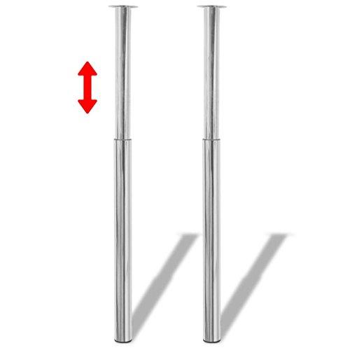 binzhoueushopping 2 tafelpoten robuust en stabiel telescoop van chroom 60 x (710-1100) mm (diameter x hoogte) bureau tafel