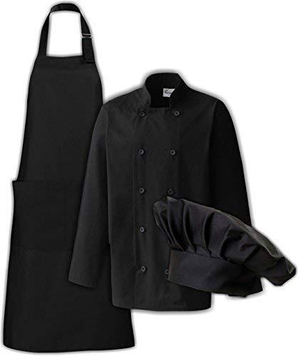 Camiseta de astyle Set de regalo para los cocineros chaqueta de cocinero, delantal y gorro de cocinero opcional con su texto en, algodón mezcla, negro, large