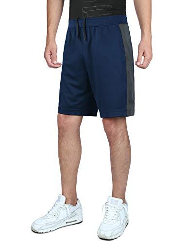 DISHANG Pantalones Cortos de Básquetbol de Rendimiento para Hombre Cortos de Gimnasio de Entrenamiento Liviano Atlético Activo con Bolsillos Laterales Diseño de Malla (Azul Marino 2, L)