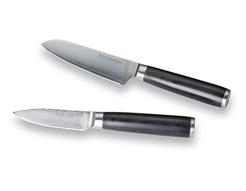Echtwerk 2-teiliges Damaszener Messer Set, Santokumesser ca. 13cm/Schälmesser ca. 8cm, Damaststahl, Messergriffe aus Pakka-Holz, Inkl. Aufbewahrungsbox, EW-DM-0399, silber