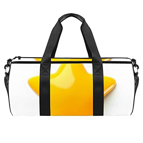 Bolsa de deporte de deporte bolsa de gimnasio bolsa de viaje mediana bolsa de equipo de deporte bolsa de engranajes amarillo serpiente patrón, Estrella amarilla, 45x23x23cm/17.7x9x9in,