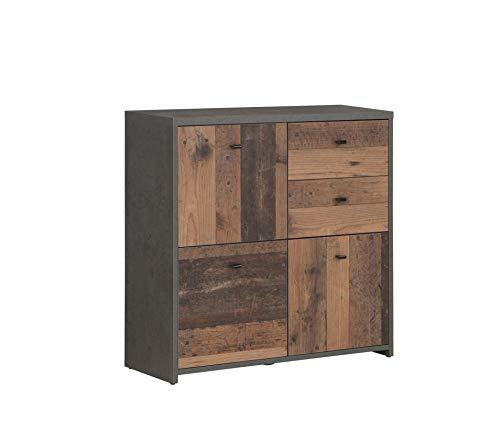 FORTE Kommode mit 3 Türen und 2 Schubkästen in trendiger Farbkombination Old-Wood Vintage kombiniert mit Betonoptik, 77,2 cm x 77,5 cm x 29,6 cm