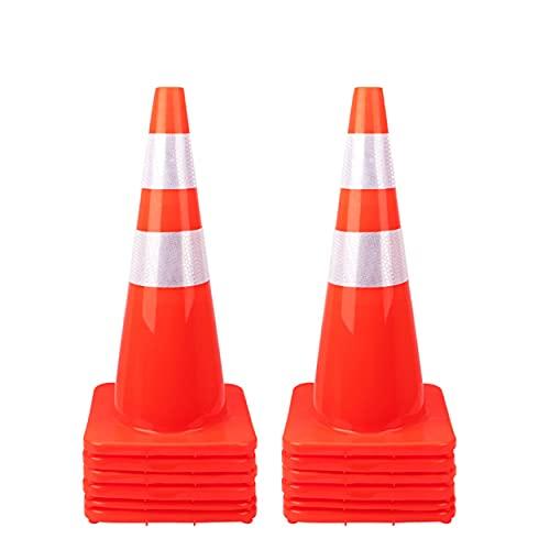[ 12 Pack ] 28' Traffic Cones Plastic Road Cone PVC Safety Road Parking Cones Weighted Hazard Cones Construction Cones Orange Safety Cones Field Marker Cones Parking Barrier (12)