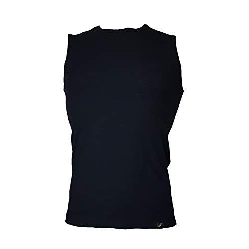 Q.bo by Igam Canottiera t-Shirt Smanicata Elasticizzata Girocollo Made in Italy, Nero, 3
