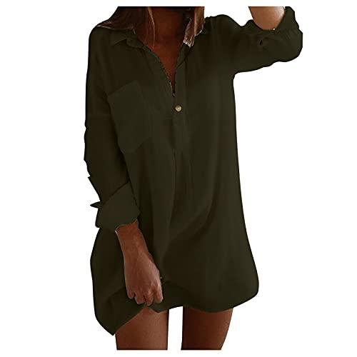 TYTUOO Mujeres Otoño Casual Blusas Manga Larga Botón Camisa Túnica Top Turndown Cuello V Bolsillo Suelto Medio Longitud Color Puro Irregular, A-Army Verde, M