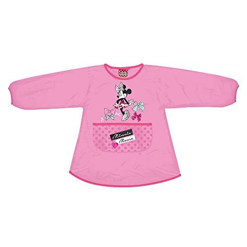 PERLETTI - Delantal Infantil Minnie Niña - Bata Escolar Impermeable con Bolsillo Delantero - Ideal para Mantener la Ropa Limpia y Seca - Rosa Estampado Disney Minnie Mouse- 3-5 Años(3/4 Años, Rosa)