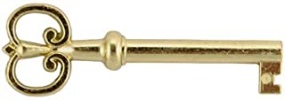 Brass Plated Hollow Barrel Skeleton Key Reproduction Replacement for Cabinet Doors, Dresser Drawers, Grandfather Clocks - Antique, Vintage, Old Furniture | KY-4