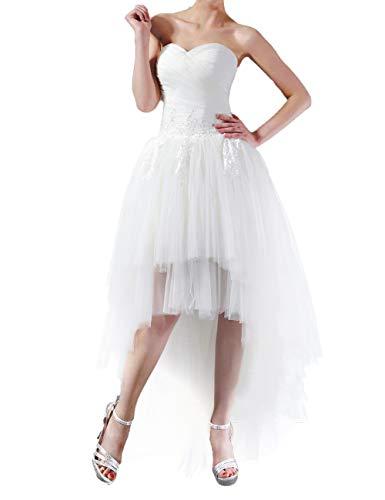 Brautkleid Elegant Damen Lang Hochzeitskleider Hinten Lang Tüll A-Linie Herzausschnitt Weiß EUR38