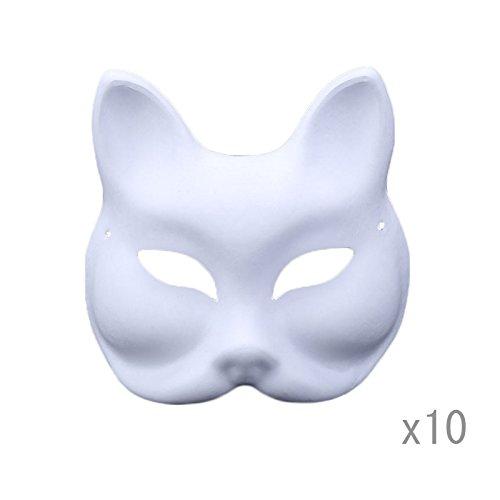 Meimask 10pcs Bricolaje Papel Blanco máscara Pulpa