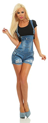 Fashion4Young 11023 Damen Latzhose Hotpants Jeans Shorts Kurze Hose Jeanslatzhose Denim Slimline (blau, XL-42)