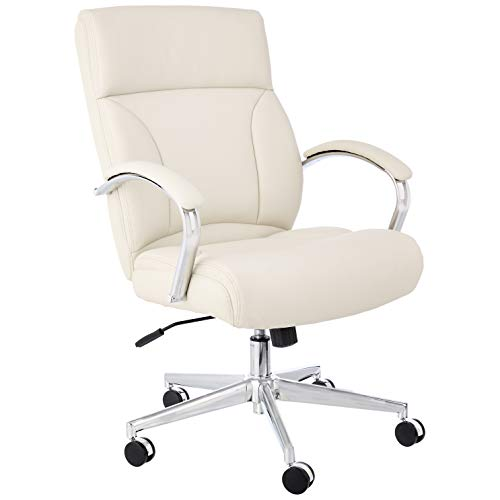 Amazon Basics Modern Executive Chair, 275lb Capacity with Oversized Seat Cushion, Ivory Bonded Leather