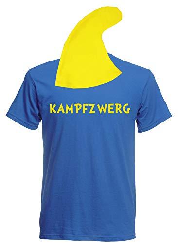 aprom Zwergen T-Shirt Kostüm mit Mütze div. Motive zur Auswahl - Fasching JGA Sheriff Gruppenkostüm Karneval Zwerg (M, Blau - Kampfzwerg)
