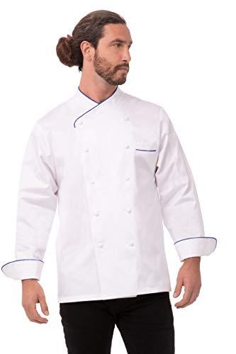 Chef Works Ritz Ägyptische Baumwolle Chef Coat, weiß mit blauer Paspelierung, ECRI-BLP-58