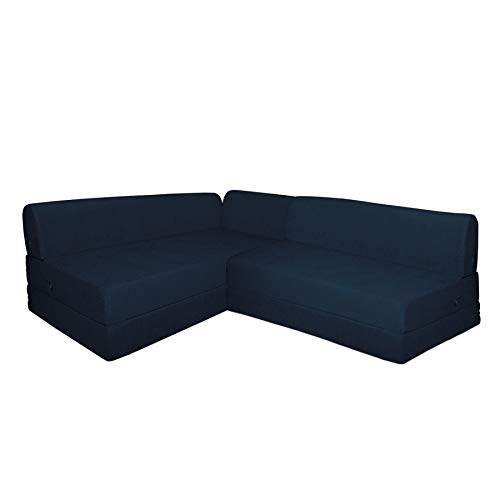 Aart Store L Shape Sofa Cums Bed for Home with 5 Cushion Perfect for Guest (Blue)