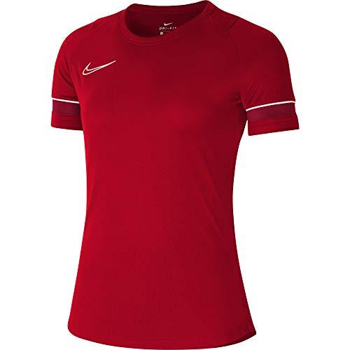 NIKE Camiseta de Entrenamiento para Mujer Academy 21, Mujer, Camiseta, CV2627-657, Rojo/Blanco/Rojo, Small