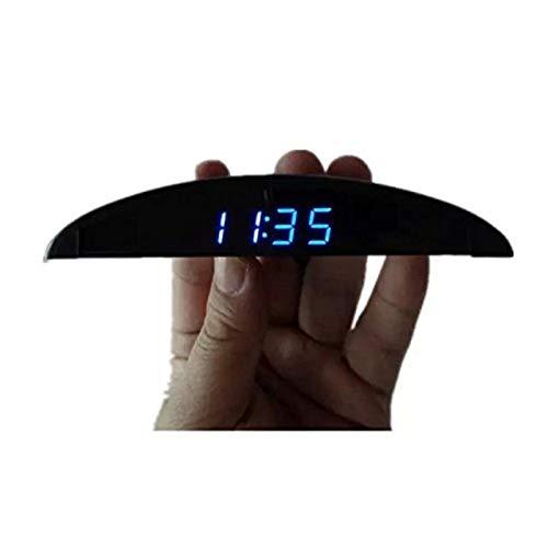 BONNIO Ultradünne Auto Armaturenbrett Elektronische Uhr Voltmeter Thermometer Blau Digital Leuchtanzeige