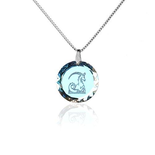 Silberkette Halskette 925 Silber Sternzeichen Tierkreiszeichen Steinbock hergestellt mit Swarovski®Kristall