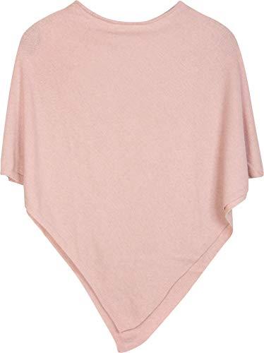 styleBREAKER Damen Feinstrick Poncho in Unifarben, leicht asymmetrischer Schnitt, Ärmellos, Rundhals 08010042, Farbe:Rosa