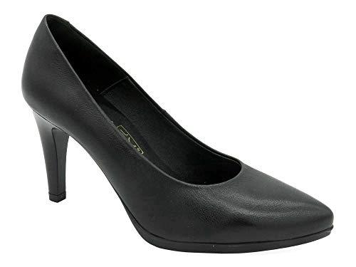 Desireé - Zapatos salón Cuero Real Mujer, Negro