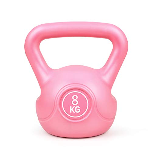 Kettle Gewichte Set, 2kg, 4kg, 6kg, 8KG, Gusseisen gummierte Kettle für Männer und Frauen, Farbe Langhantelset Home Gym Fitness Übung Krafttraining,Rosa,4KG