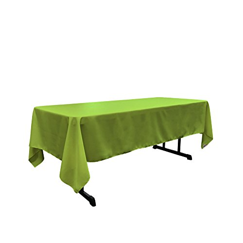"LA Linen Polyester Poplin Rectangular Tablecloth 60 by 144"" , Lime"